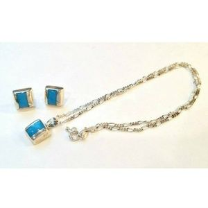 Jewelry - Sterling Silver Turquoise Modern Necklace Earrings